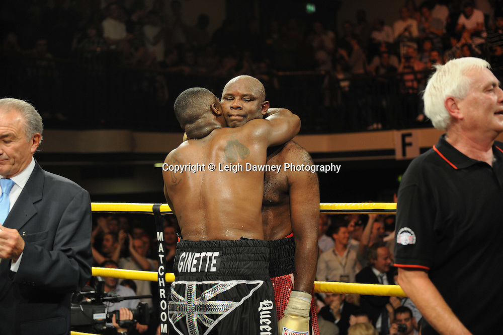 Michael Sprott (black shorts) defeats Matt Skelton to claim Prizefighter The Heavyweights 9th Ocrtober 2010 at York Hall, Bethnal Green, London. Prizefighter/Matchroom Sport. Barry & Eddie Hearn © Photo credit: Leigh Dawney