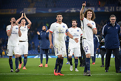 09.03.2016, Stamford Bridge, London, ENG, UEFA CL, FC Chelsea vs Paris Saint Germain, Achtelfinale, Rueckspiel, im Bild motta thiago, ibrahimovic zlatan, thiago silva, maxwell scherrer, david luiz, blanc laurent // during the UEFA Champions League Round of 16, 2nd Leg match between FC Chelsea vs Paris Saint Germain at the Stamford Bridge in London, Great Britain on 2016/03/09. EXPA Pictures © 2016, PhotoCredit: EXPA/ Pressesports/ MOUNIC ALAIN<br /> <br /> *****ATTENTION - for AUT, SLO, CRO, SRB, BIH, MAZ, POL only*****