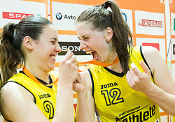 Tina Jakovina of Athlete Celje and Eva Lisec of Athlete Celje celebrate after winning during basketball match between ZKK Athlete Celje and ZKK Triglav in Finals of 1. SKL for Women 2014/15, on April 20, 2015 in Gimnazija Celje Center, Celje, Slovenia. ZKK Athlete Celje became Slovenian National Champion 2015. Photo by Vid Ponikvar / Sportida