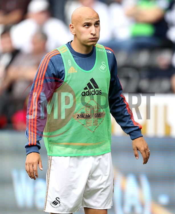 Jonjo Shelvey of Swansea City warms up - Mandatory byline: Robbie Stephenson/JMP - 07966386802 - 15/08/2015 - FOOTBALL - Liberty Stadium -Swansea,England - Swansea City v Newcastle United - Barclays Premier League
