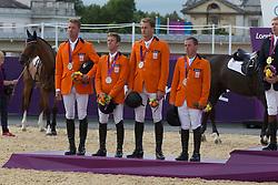 Team Netherlands silver medal<br /> Jur Vrieling - VDL Bubalu<br /> Mikael Van der Vleuten - Verdi<br /> Marc Houtzager - Tamino<br /> Gerco Schroder - London<br /> Olympic Games London 2012<br /> © Dirk Caremans