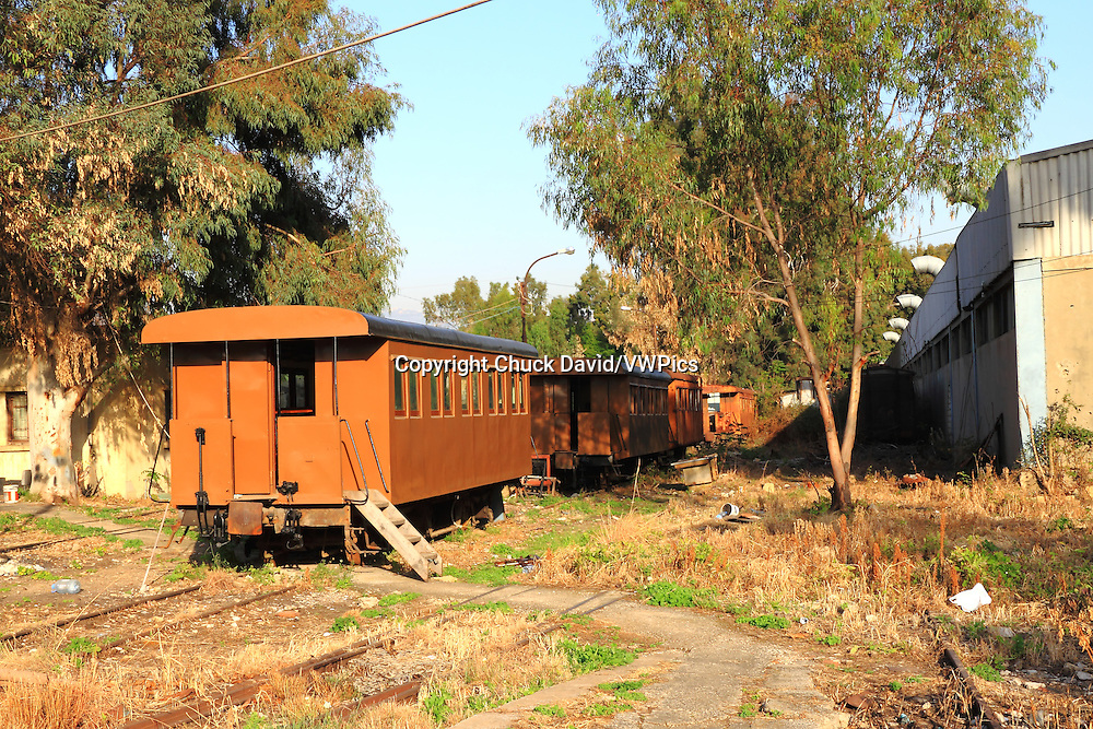 Old train cabins sit in the rail yard of Beirut's former train station, service discontinued since Lebanon's civil war.