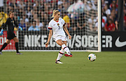 United States fender Abby Dahlkemper (7) kicks the ball in an international friendly women's soccer match, Saturday, Aug. 3, 2019,  in Pasadena, Calif., The U.S. defeated Ireland 3-0. (Dylan Stewart/Image of Sport)