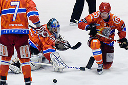 Michal Fikrt (HK Acroni Jesenice, #37) during ice-hockey match between HK Acroni Jesenice and HDD Tilia Olimpija in 50th Round of EBEL league, on Februar 15, 2011 at Dvorana Podmezaklja, Jesenice, Slovenia. (Photo By Matic Klansek Velej / Sportida.com)