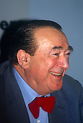 Media tycoon, Robert Maxwell during a press conference months before his suspicious death, on 30th April 1991 in London, England. Ian Robert Maxwell, MC (born Ján Ludvík Hyman Binyamin Hoch; (1923-1991) was a British media proprietor and Member of Parliament (MP). Originally from Czechoslovakia, he rose from poverty to build an extensive publishing empire. After Maxwell's death in November that year, huge discrepancies in his companies' finances were revealed, including his fraudulent misappropriation of the Mirror Group pension fund.