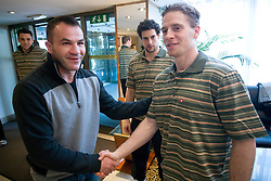Dejan Zavec, Jakob Milovanovic and Ales Music at meeting of Slovenian Ice-Hockey National team and boxer Dejan Zavec - Jan Zaveck alias Mister Simpatikus, on April 15, 2010, in Hotel Lev, Ljubljana, Slovenia.  (Photo by Vid Ponikvar / Sportida)