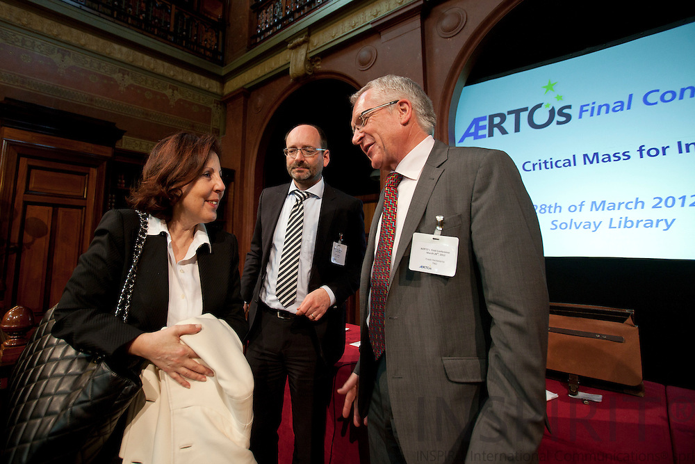 From left Maria da Graca Carvalho, Member of the European Parliament, Jan Mengelers, President of TNO, President of EARTO and  Freek Heidekamp, Senior Advisor, TNO at the ÆRTOs Final Conference on Building Critical Mass for Innovation at Solvay Library Wednesday 28 March 2012.  Photo: ©Erik Luntang / INSPIRIT PHOTO