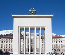 THEMENBILD - Landhausplatz Innsbruck, im Bild das Befreiungsdenkmal, dahinter das Tiroler Landhaus, Bild aufgenommen am 24.02.2014. EXPA Pictures © 2014, PhotoCredit: EXPA/ JFK
