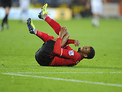 Cardiff City's Fraizer Campbell is fouled by Swansea City's Michel Vorm resulting in Vorm being sent off by Referee, Mike Dean - Photo mandatory by-line: Joe Meredith/JMP - Tel: Mobile: 07966 386802 03/11/2013 - SPORT - FOOTBALL - The Cardiff City Stadium - Cardiff - Cardiff City v Swansea City - Barclays Premier League
