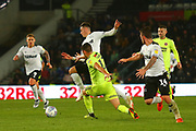 Derby County forward Tom Lawrence (10) goes past Sheffield United defender John Egan (12) during the EFL Sky Bet Championship match between Derby County and Sheffield United at the Pride Park, Derby, England on 20 October 2018.