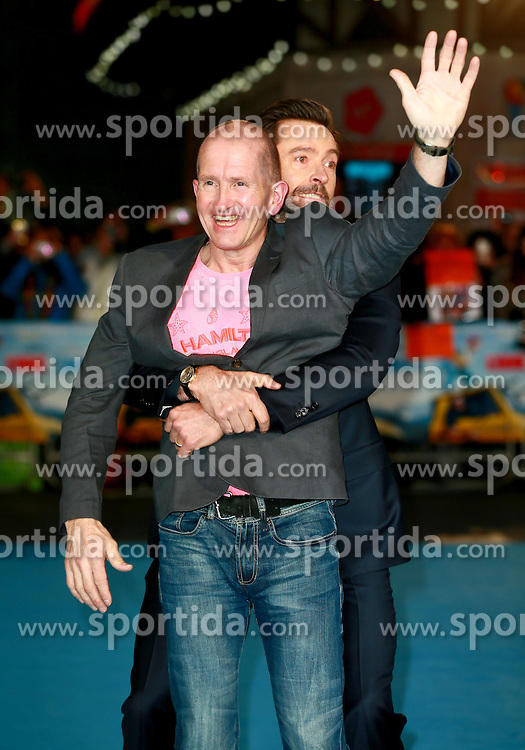 Eddie Edwards and Hugh Jackman at the European Premiere of Eddie the Eagle, London, Britain, 17.03.2016, 17.03.2016. EXPA Pictures &copy; 2016, PhotoCredit: EXPA/ Photoshot/ James Shaw/Photoshot<br /> <br /> *****ATTENTION - for AUT, SLO, CRO, SRB, BIH, MAZ, SUI only*****