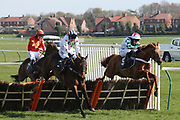 AYE RIGHT (2) ridden by Callum Bewley and trained by Harriet Graham winning The Seko Logistics Scotland Novices Handicap Hurdle Race over 3m (£16,800)  during the Scottish Grand National, Ladies day at Ayr Racecourse, Ayr, Scotland on 12 April 2019.
