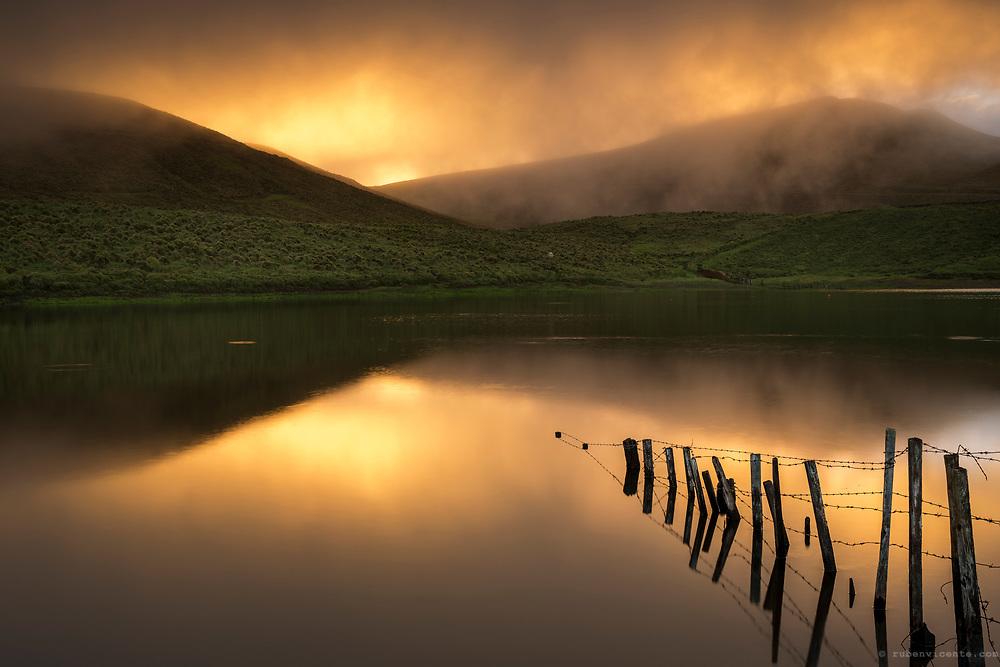 Sunset at Lagoa do Peixinho. Pico, Azores, Portugal