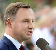 Poland President Andrzej Duda makes remarks after laying wreaths and flowers at the memorial Tomb of Fallen Soldiers killed by Communists from 1944-63 Sunday, September 18, 2016 in New Britain, Pennsylvania.  (Photo by William Thomas Cain)
