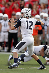 02 September 2017:   Will Marty sets up a pass during the Butler Bulldogs at  Illinois State Redbirds Football game at Hancock Stadium in Normal IL (Photo by Alan Look)