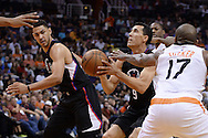 PHOENIX, AZ - APRIL 13:  Pablo Prigioni #9 of the Los Angeles Clippers looks to shoot the ball in traffic during the NBA game against the Phoenix Suns at Talking Stick Resort Arena on April 13, 2016 in Phoenix, Arizona.  The Phoenix Suns won 114-105. NOTE TO USER: User expressly acknowledges and agrees that, by downloading and or using this photograph, User is consenting to the terms and conditions of the Getty Images License Agreement. (Photo by Jennifer Stewart/Getty Images)