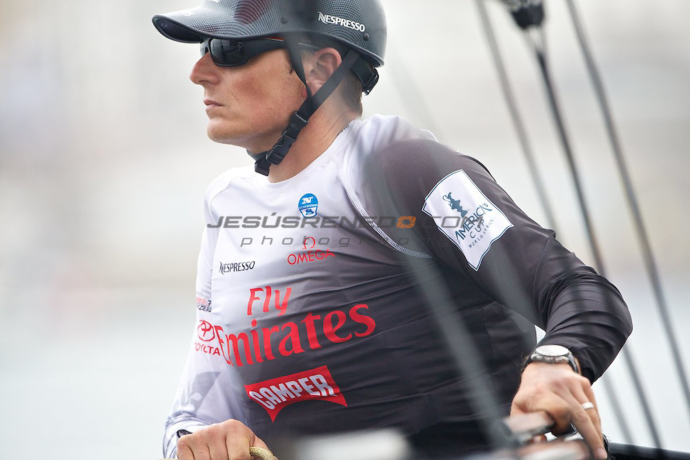 AC World Series,Cascais,Portugal.First day of racing, fleet race.Emirates Team New Zealand skipper den Barker