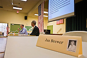 13 OCTOBER 2010 - TUCSON, AZ: Jan Brewer's seat was empty, but Terry Goddard and Libertarian Barry Hess went on with a candidate forum in Tucson. Brewer was invited but didn't show up. Goddard spent the day in Tucson campaigning. Goddard lost the election to sitting Governor Jan Brewer, a conservative Republican.     PHOTO BY JACK KURTZ
