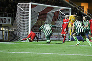Bayo Akinfenwa of AFC Wimbledon equalises during Sky Bet League 2 match between Leyton Orient and AFC Wimbledon at the Matchroom Stadium, London, England on 28 November 2015. Photo by Stuart Butcher.