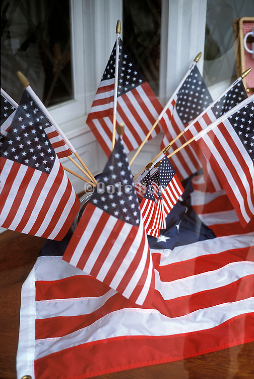 Window display with small American flags