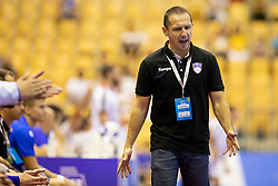 Sasa Praprotnik, head coach of Slovenia during handball match between National teams of Portugal and Slovenia in Semifinal of 2018 EHF U20 Men's European Championship, on July 27, 2018 in Arena Zlatorog, Celje, Slovenia. Photo by Urban Urbanc / Sportida