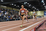 Mar 4, 2017; Albuquerque, NM, USA: Shelby Houlihan wins the women's mile in 4:45.18 during the USA Indoor Championships at Albuquerque Convention Center.