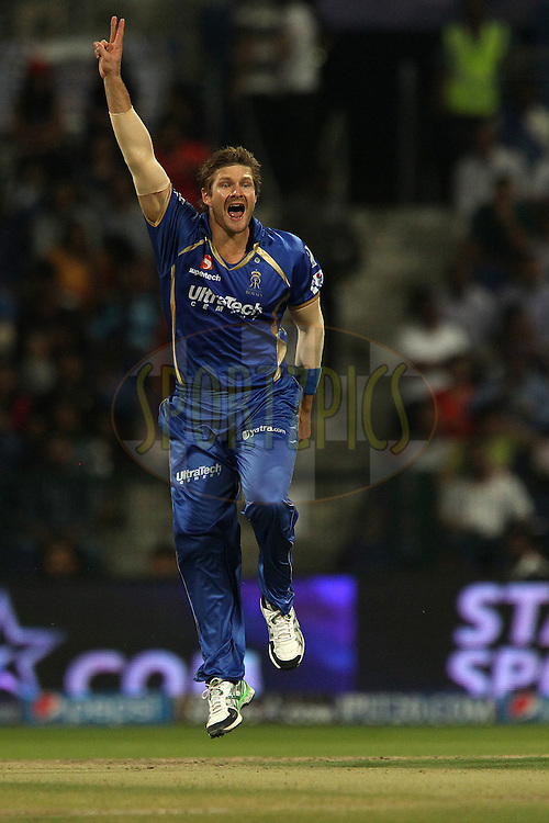 Shane Watson captain of the Rajatshan Royals celebrates the wicket of Jacques Kallis of the Kolkata Knight Riders but the delivery is judged to be a no ball during match 19 of the Pepsi Indian Premier League 2014 Season between The Kolkata Knight Riders and the Rajasthan Royals held at the Sheikh Zayed Stadium, Abu Dhabi, United Arab Emirates on the 29th April 2014<br /> <br /> Photo by Ron Gaunt / IPL / SPORTZPICS
