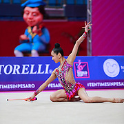 Seo Goeun during the qualification of the clubs at the Pesaro World Cup 2018. Goeun is a gymnast from the Republic of Korea born in Seoul in 2001.