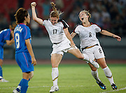 8/18/08 9:41:12 PM -- The 2008 Beijing Summer Olympics -- Beijing, China<br />  -- USA's Lori Chalupny, left celebrates hier first half goal with teammate Amy Rodriguez against Japan in the women's semi-final game at Workers' Stadium Monday August 18, 2008-- <br /> <br /> <br /> Photo by Jeff Swinger, USA TODAY Staff