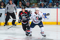 KELOWNA, CANADA - SEPTEMBER 24: Joe Gatenby #37 of the Kamloops Blazers stick checks Jordan Borstmayer #11 of the Kelowna Rockets on September 24, 2016 at Prospera Place in Kelowna, British Columbia, Canada.  (Photo by Marissa Baecker/Shoot the Breeze)  *** Local Caption *** Joe Gatenby; Jordan Borstmayer;