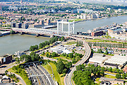 Nederland, Zuid-Holland,  Dordrecht, 10-06-2015; Gezicht op Dordrecht met spoorbrug over de Oude Maas tussen Dordrecht en Zwijndrecht. Drechttunnel in de voorgrond, Beneden Mewede aan de horizon.<br /> View of Dordrecht with railway bridge over the Oude Maas between Dordrecht and Zwijndrecht.<br /> luchtfoto (toeslag op standard tarieven);<br /> aerial photo (additional fee required);<br /> copyright foto/photo Siebe Swart