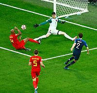 goal attempt of Benjamin PAVARD France <br /> Saint Petersburg 10-07-2018 Football FIFA World Cup Russia  2018 Semifinal <br /> France - Belgium / Francia - Belgio <br /> Foto Matteo Ciambelli/Insidefoto