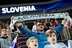 Supporter of Slovenia before futsal quarterfinal match between National teams of Slovenia and Russia at Day 7 of UEFA Futsal EURO 2018, on February 5, 2018 in Arena Stozice, Ljubljana, Slovenia. Photo by Urban Urbanc / Sportida