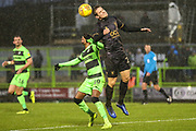 Forest Green Rovers Reece Brown(10) and Mansfield Town's Time Elsnik(20) challenge for the ball during the EFL Sky Bet League 2 match between Forest Green Rovers and Mansfield Town at the New Lawn, Forest Green, United Kingdom on 15 December 2018.