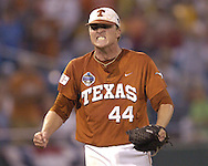 Texas pitcher J. Brent Cox reacts after stricking out Florida's Stephen Barton to end the game.  Texas defeated Florida 4-2 in game one of the Championship Series of the College World Series at Rosenblatt Stadium in Omaha, Nebraska on June 25, 2005.