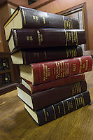 Legal books in court room