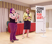 Stonewall and Liberal Democrats LGBTQ fringe meeting.<br /> Bournemouth, Great Britain <br /> 17th September 2017. <br /> <br /> <br /> Jennie Rigg - Chair <br /> <br /> Jo Swinson <br /> Deputy Leader of the Liberal Democrats <br /> <br /> Photograph by Elliott Franks <br /> Image licensed to Elliott Franks Photography Services