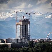 Cantiere del grattacielo della Regione Piemonte, firmato Fuksas, Torino 5,maggio 2014