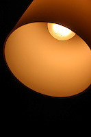 Lampshade against dark background