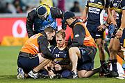 David Pocock injured during the Super Rugby match, Brumbies V Hurricanes, GIO Stadium, Canberra, Australia, 30th June 2018.Copyright photo: David Neilson / www.photosport.nz