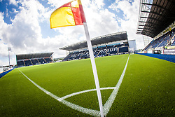 The corner flag with the three stands at The Falkirk Stadium, with the new pitch work for the Scottish Championship game v Morton. The woven GreenFields MX synthetic turf and the surface has been specifically designed for football with 50mm tufts compared with the longer 65mm which has been used for mixed football and rugby uses.  It is fully FFA two star compliant and conforms to rules laid out by the SPL and SFL.<br />
