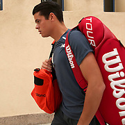 March 18, 2015, Indian Wells, California:<br /> Milos Raonic walks toward stadium one before a match against Tommy Robredo at the Indian Wells Tennis Garden in Indian Wells, California Wednesday, March 18, 2015.<br /> (Photo by Billie Weiss/BNP Paribas Open)
