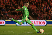 Allan McGregor (Hull City) takes a goal kick during the Sky Bet Championship match between Middlesbrough and Hull City at the Riverside Stadium, Middlesbrough, England on 18 March 2016. Photo by Mark P Doherty.