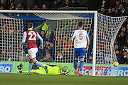Aston Villa defender Nathan Baker (2) out of picture scores to make it 1-0 during the EFL Sky Bet Championship match between Brighton and Hove Albion and Aston Villa at the American Express Community Stadium, Brighton and Hove, England on 18 November 2016. Photo by Bennett Dean.