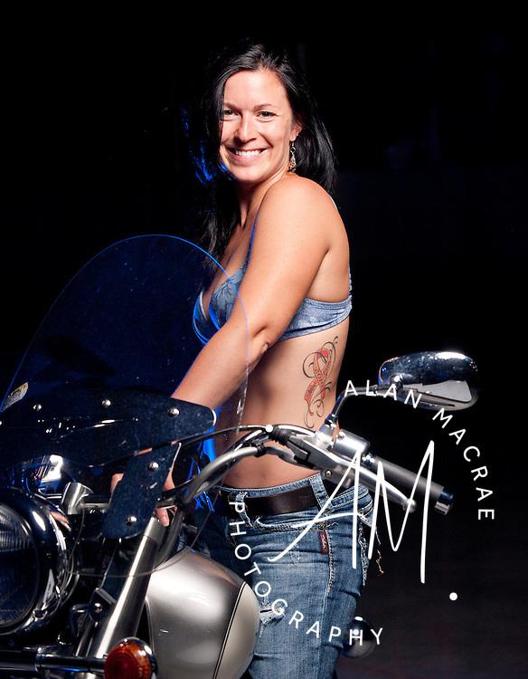 "Jill Ober and her bike, ""Pretty""."