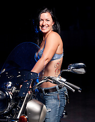 "Jill Ober and her bike, ""Pretty""."