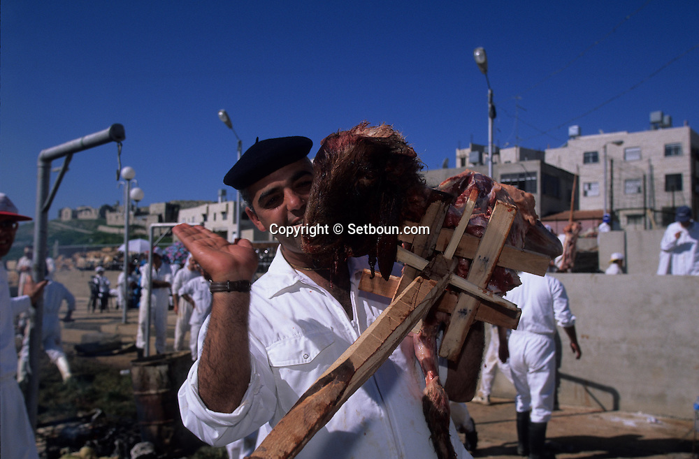 "= the  priest The Samaritans during Pessah  , passover, Easter, sacrifice on Mount Gerizim, near Sekhem    Israel  /// Les Samaritains, sacrifice du mouton pascal  de paques sur le mont  Gerizim (Sekhem)   Israel ; les pretres ""Cohanim"" (Cohen) +"