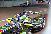 Nelson Piquet Jr exiting the pit lane on the way to winning the championship during the FIA Formula E Visa London ePrix  at Battersea Park, London, United Kingdom on 28 June 2015. Photo by Matthew Redman.