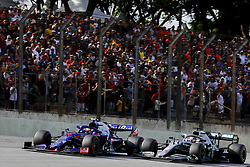 November 17, 2019, Sao Paulo, SP, Brazil: PIERRE GASLY of the Toro Rosso Honda (left)   overtake LEWIS HAMILTON of the Mercedes AMG Petronas Motorsport during Brazilian Formula 1 Grand Prix at Interlagos racetrack. (Credit Image: © Marcelo Chello/ZUMA Wire)