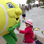 March 1, 2014, Palm Springs, California: <br /> BNP Paribas Open mascot Champ greets guests during Kids Day at the Indian Wells Tennis Garden sponsored by the Coachella Valley National Junior Tennis and Learning Network.<br /> (Photo by Billie Weiss/BNP Paribas Open)